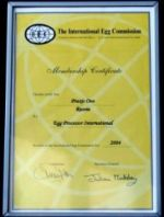 International Egg Commission Membership Certificate 2004<